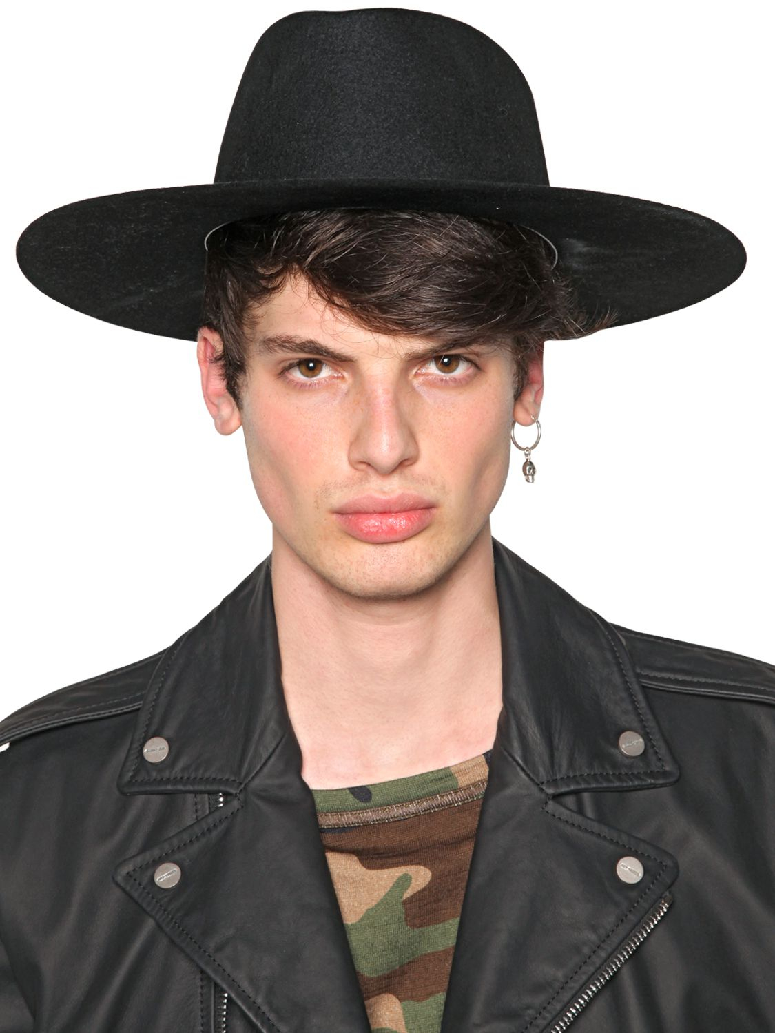 off-white c/o virgil abloh wide brim felt hat in black for men | lyst