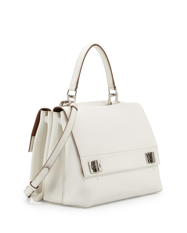 5b148cbf57 Prada Lux Calf Double-Flap Satchel Bag in White - Lyst