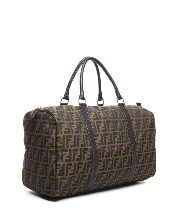 ... discount code for lyst fendi preowned brown zucca canvas duffel bag in  brown for men ee078 ... 519be1835d19e