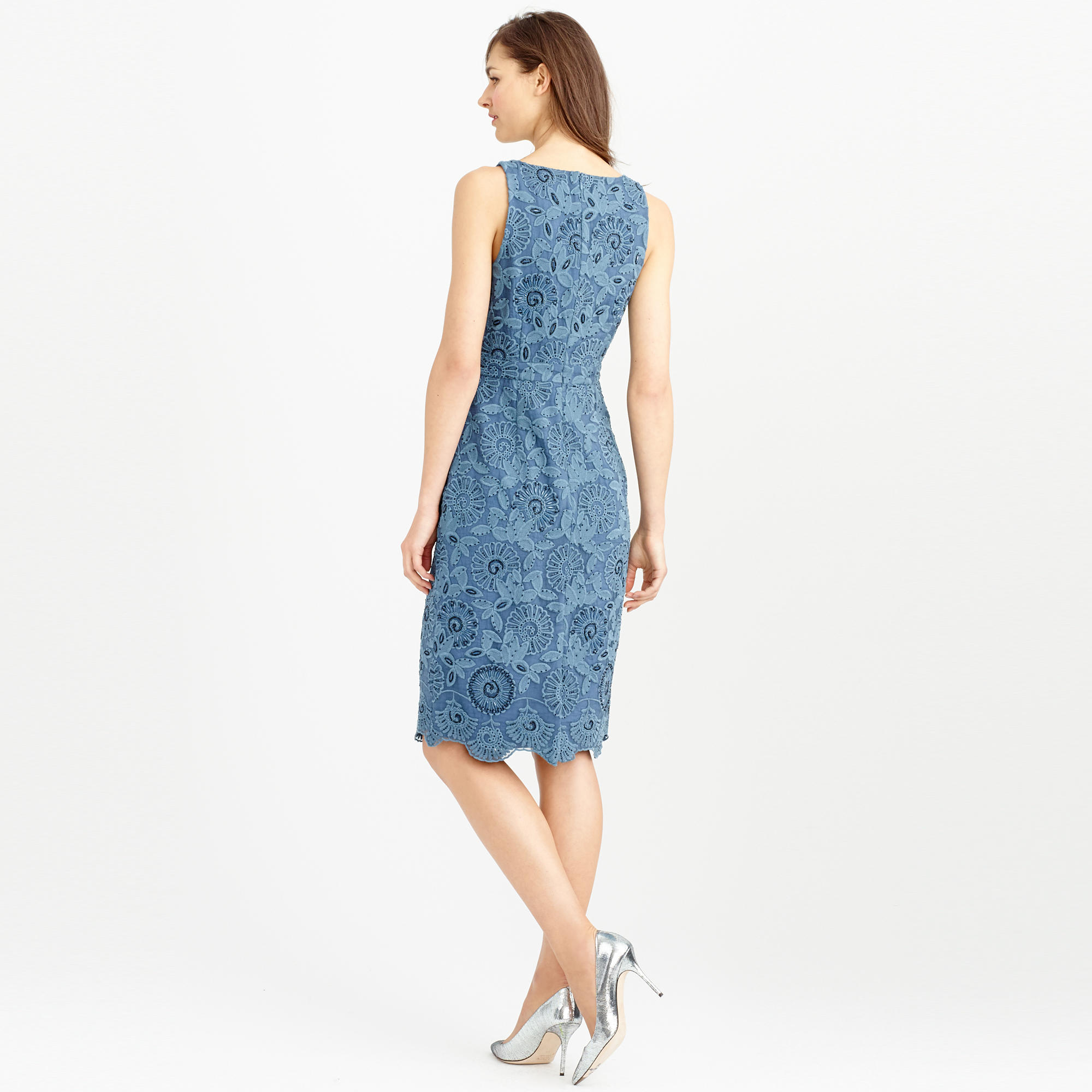 3687eed16ee Lyst J Crew Collection Beaded Fl Lace Dress In Blue