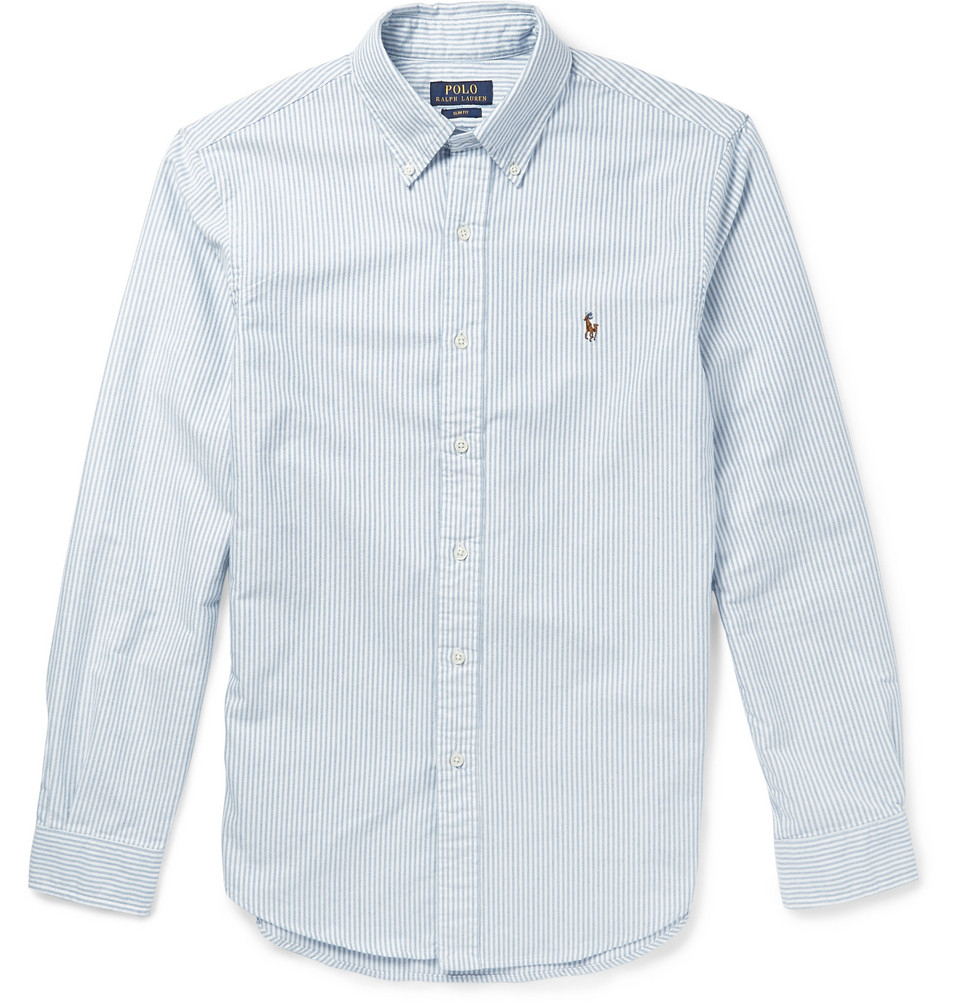 Polo ralph lauren slim fit striped cotton oxford shirt in for Slim fit cotton shirts