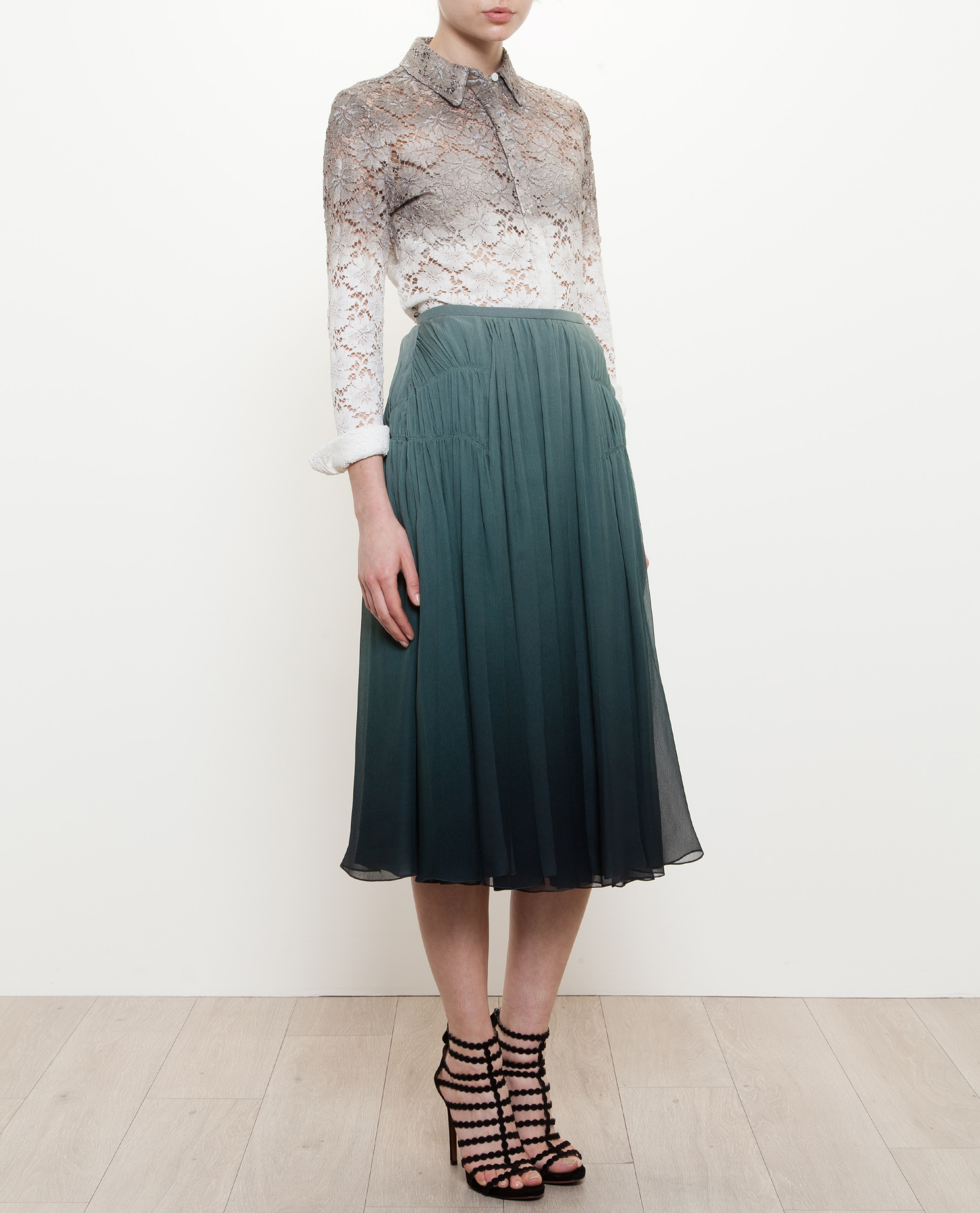 Lyst Burberry Prorsum Pleated Degrade Silk Skirt In Green