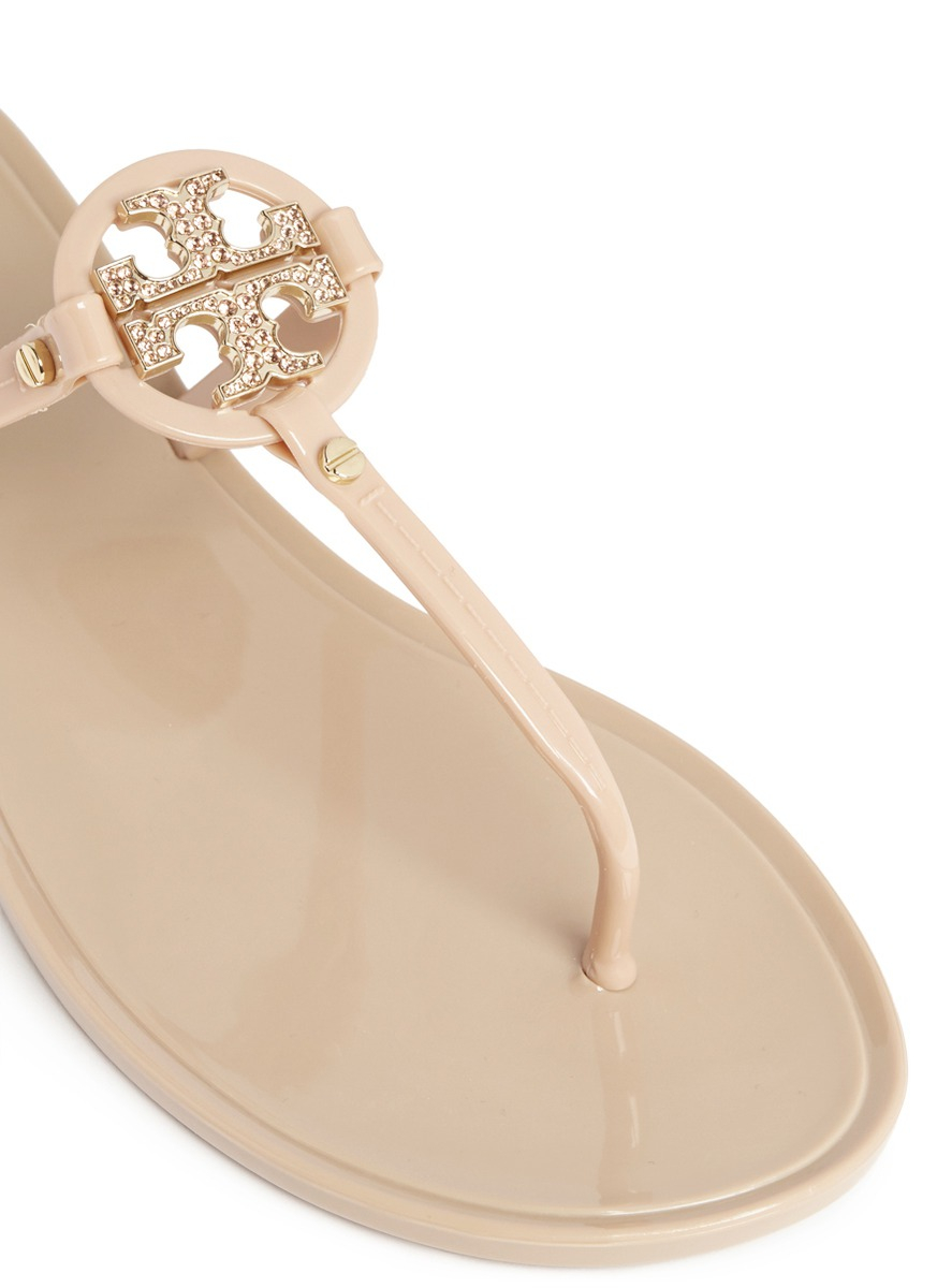 1eace7618 ... aliexpress lyst tory burch mini miller crystal logo jelly thong sandals  in 0db63 823fa