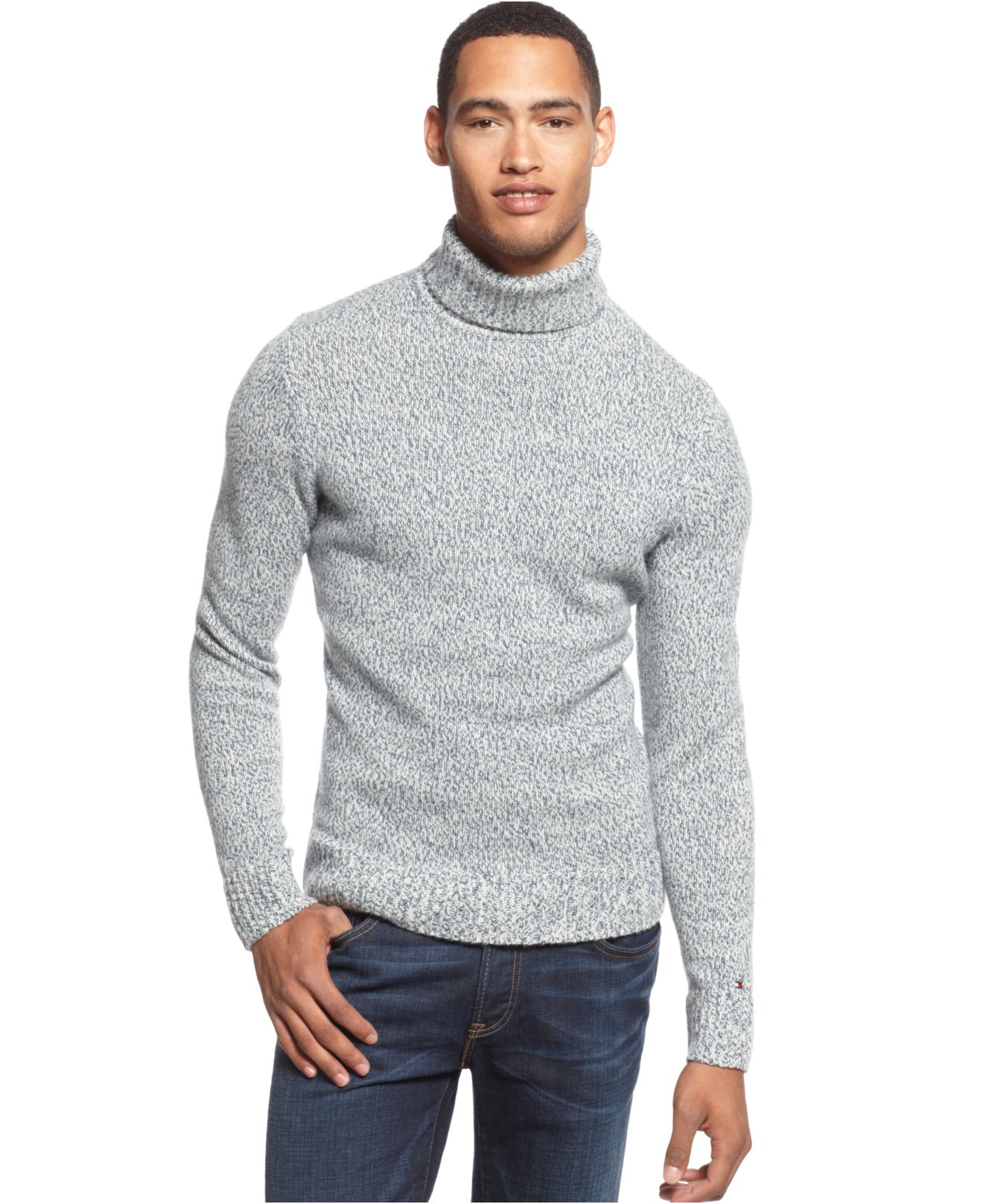 5bc70be33 Tommy Hilfiger Irving Marled Turtleneck Sweater in Gray for Men - Lyst