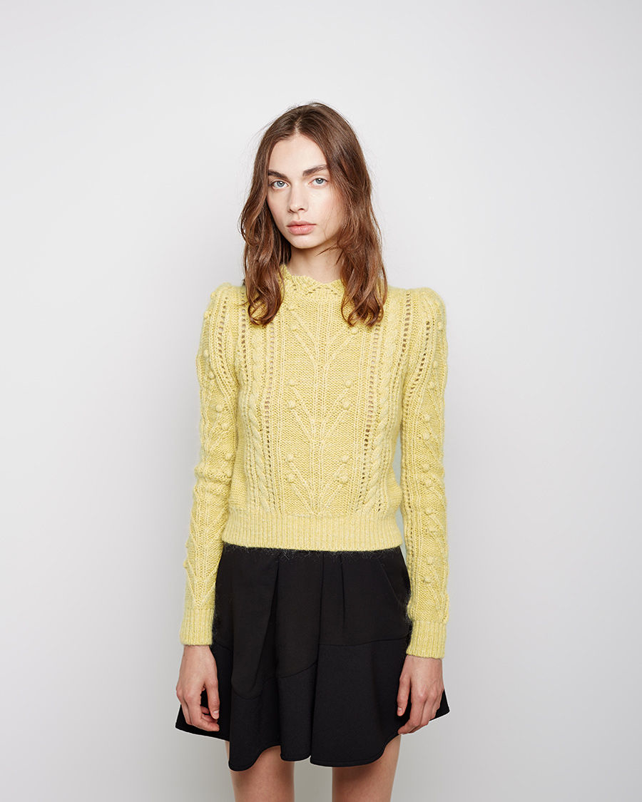 isabel marant gracie cable knit pullover in yellow lyst. Black Bedroom Furniture Sets. Home Design Ideas