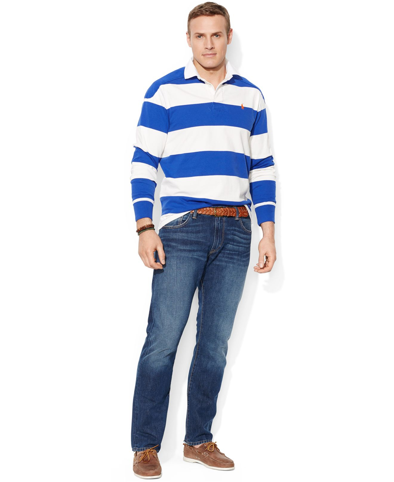 Polo ralph lauren big and tall long sleeve stripe rugby for Men s tall long sleeve shirts