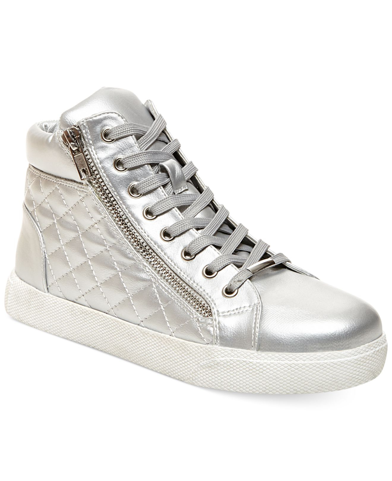 9c9367cb278 Lyst - Steve Madden Decaf Hightop Quilted Platform Sneakers in Metallic