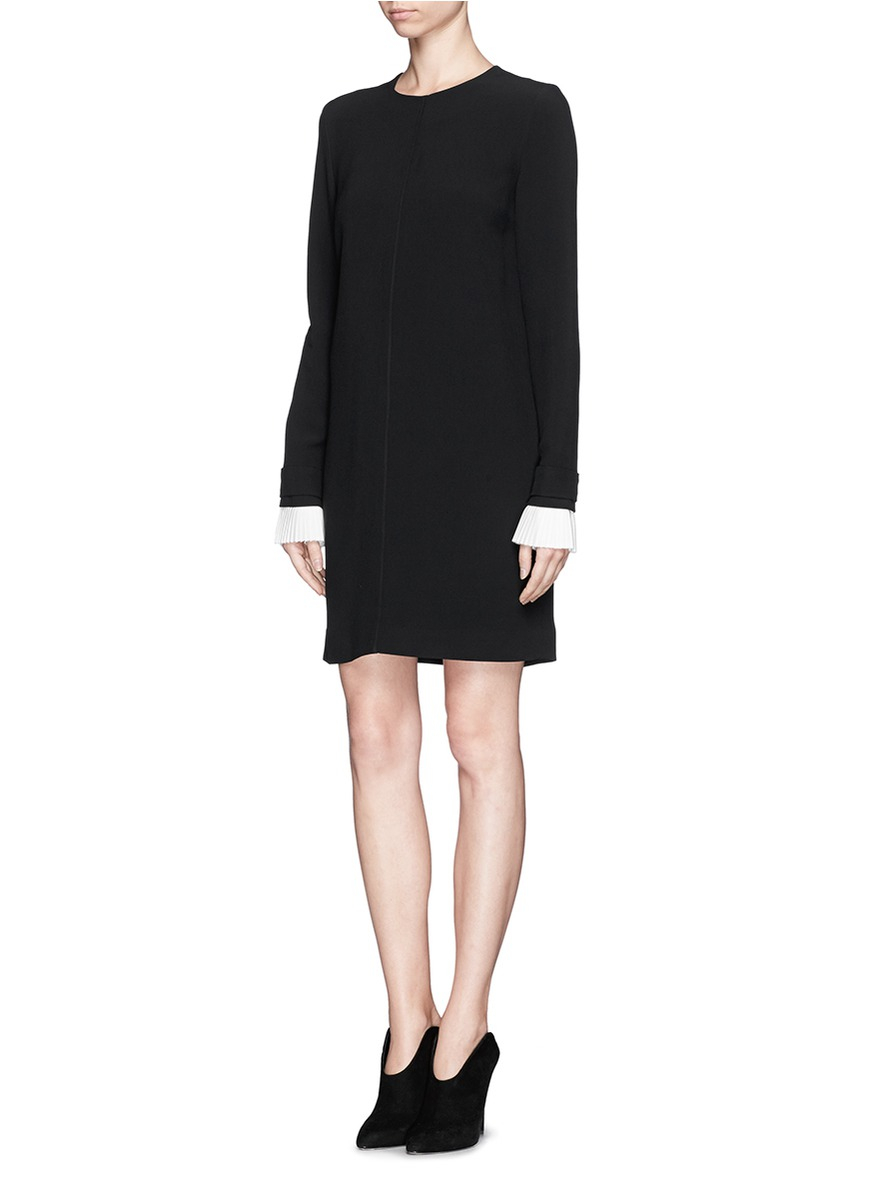 Victoria, victoria beckham Pleat Cuff Shift Dress in Black ...