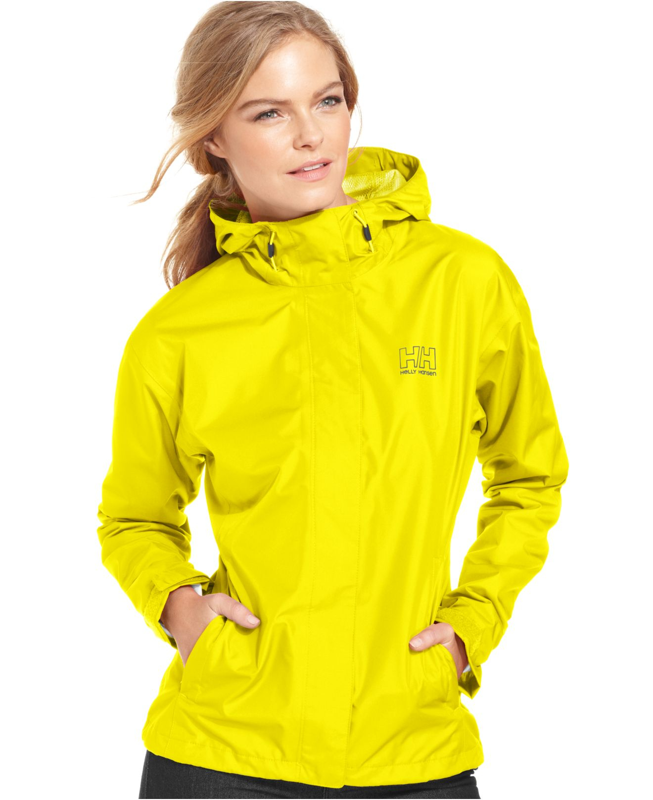 Helly Hansen Seven J Hooded Rain Jacket In Yellow