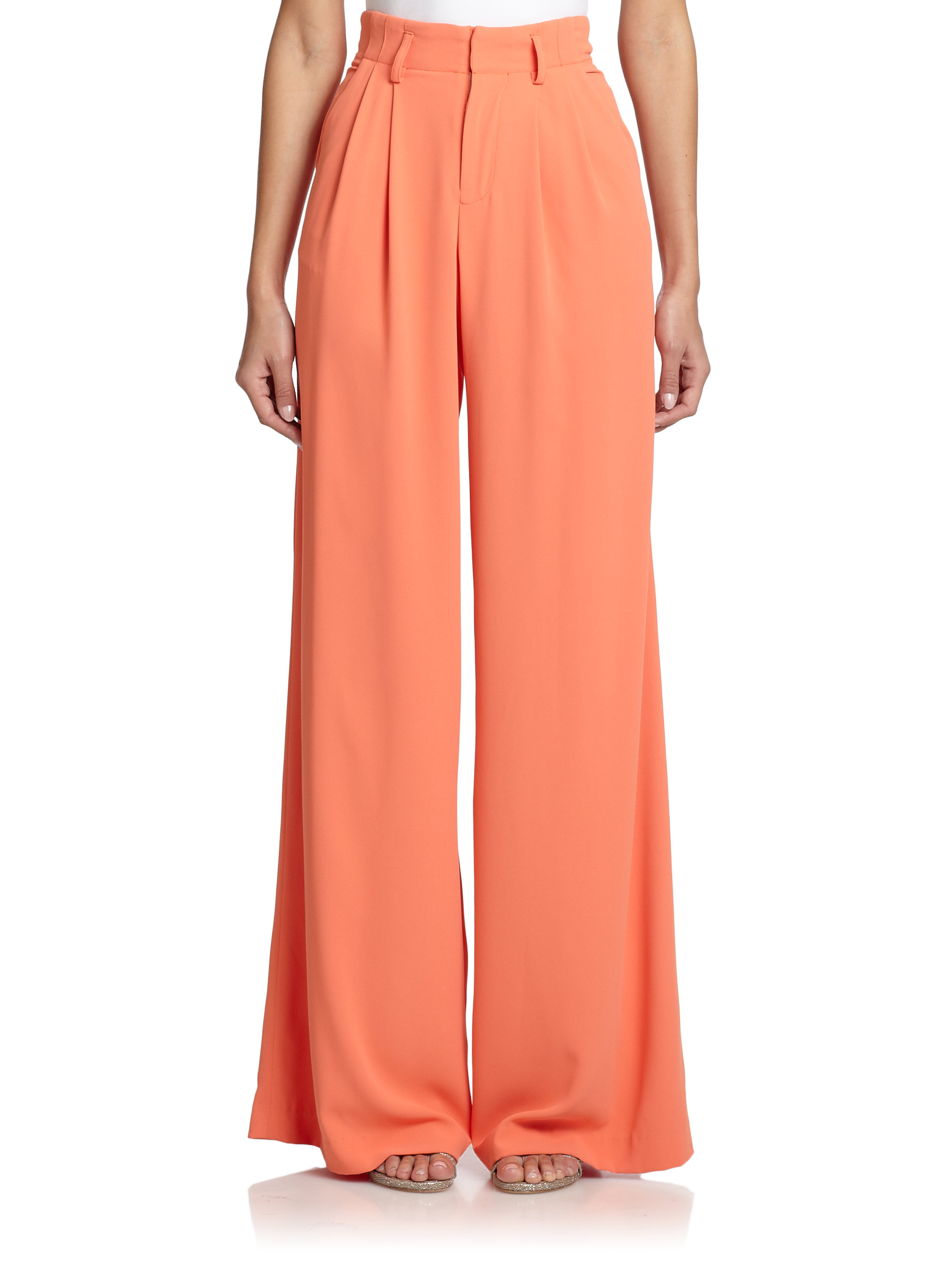 Lyst Alice Olivia High Waisted Wide Leg Pants In Pink