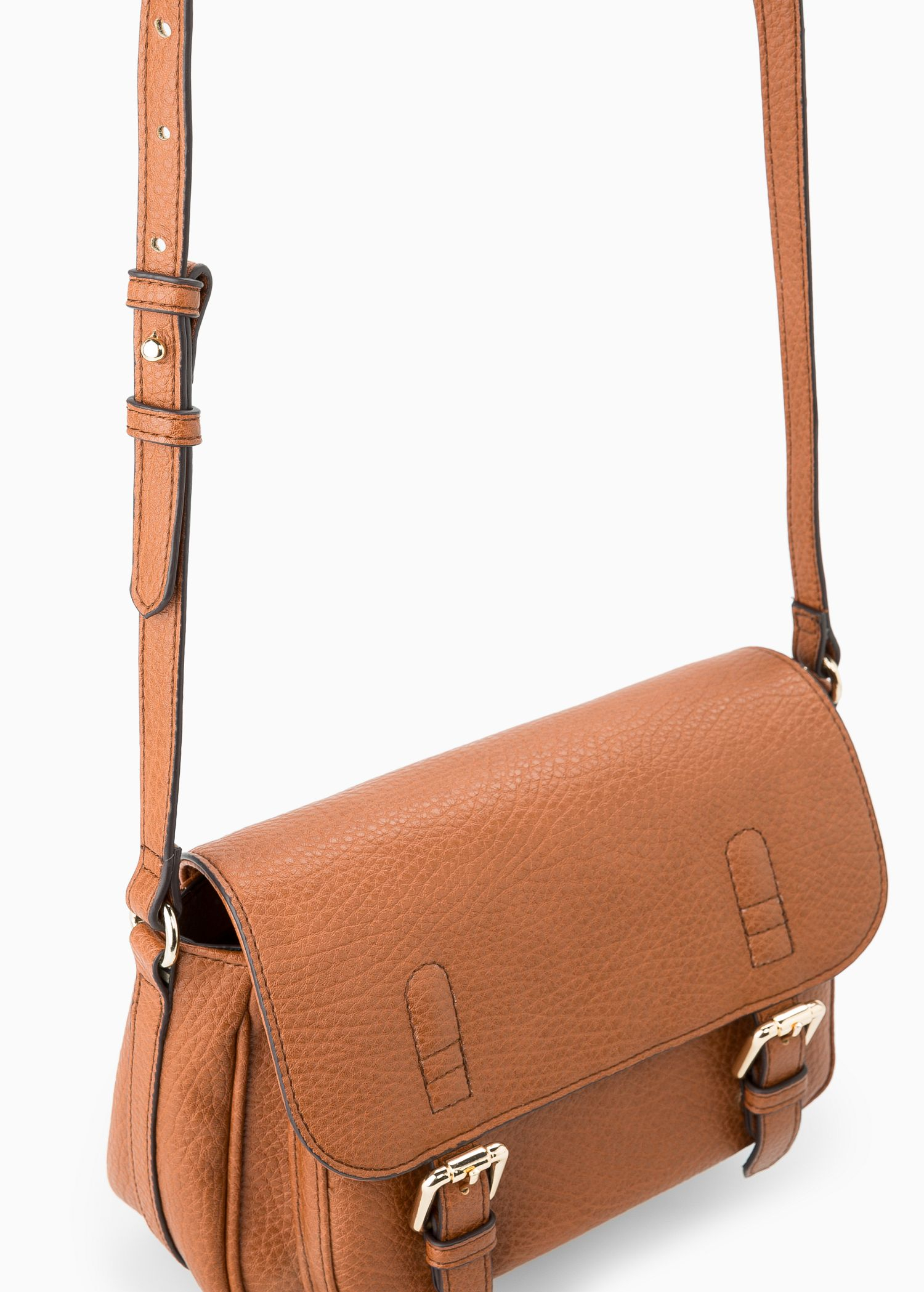 Mango Small Satchel Bag in Brown | Lyst