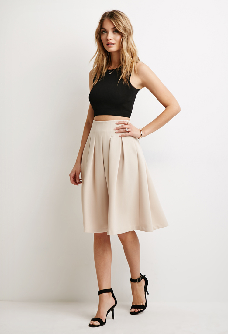 Lyst Forever 21 Box Pleat A Line Skirt In Natural