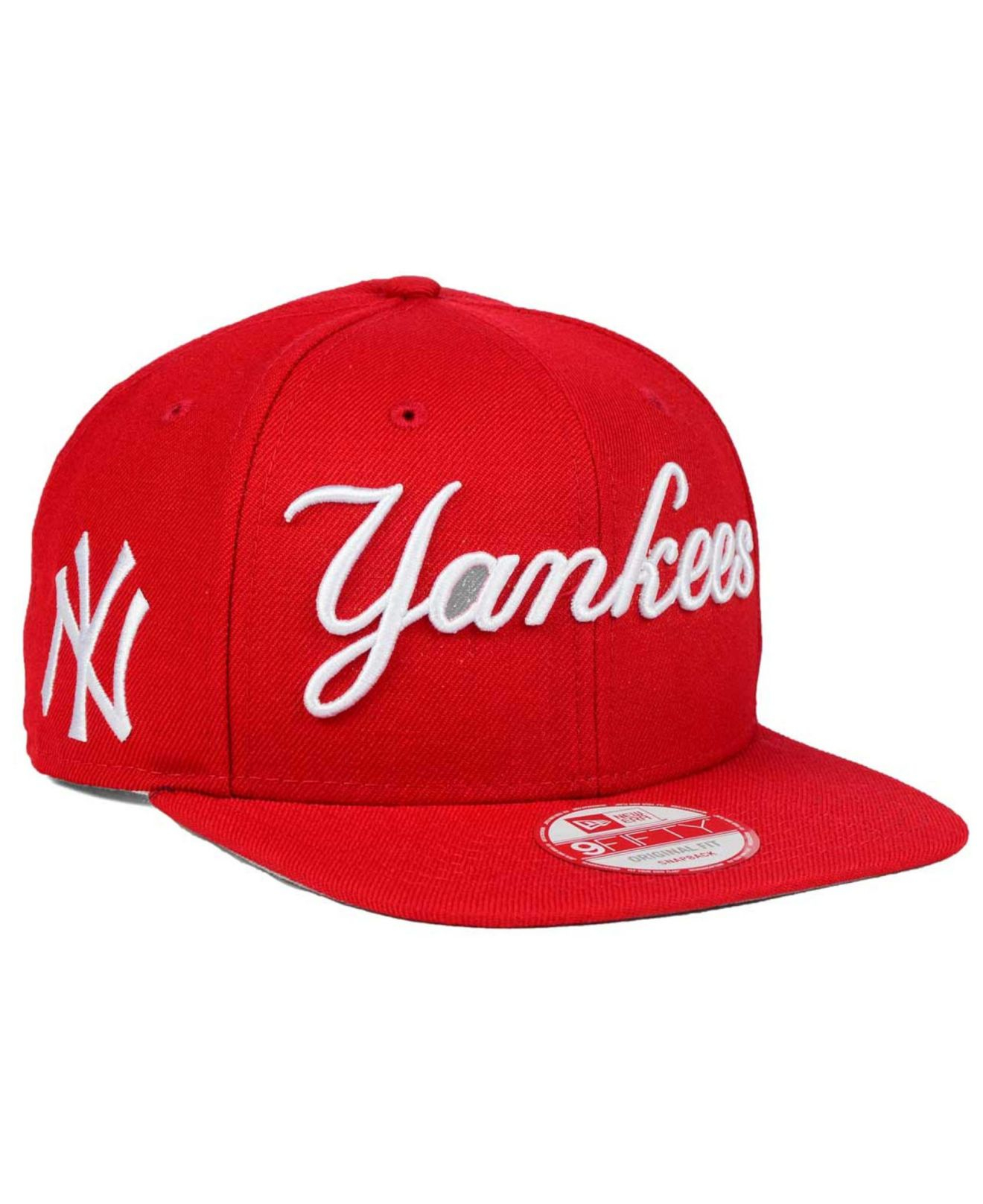 22059259685 ... italy lyst ktz new york yankees xl script 9fifty snapback cap in red  for men 3fea9