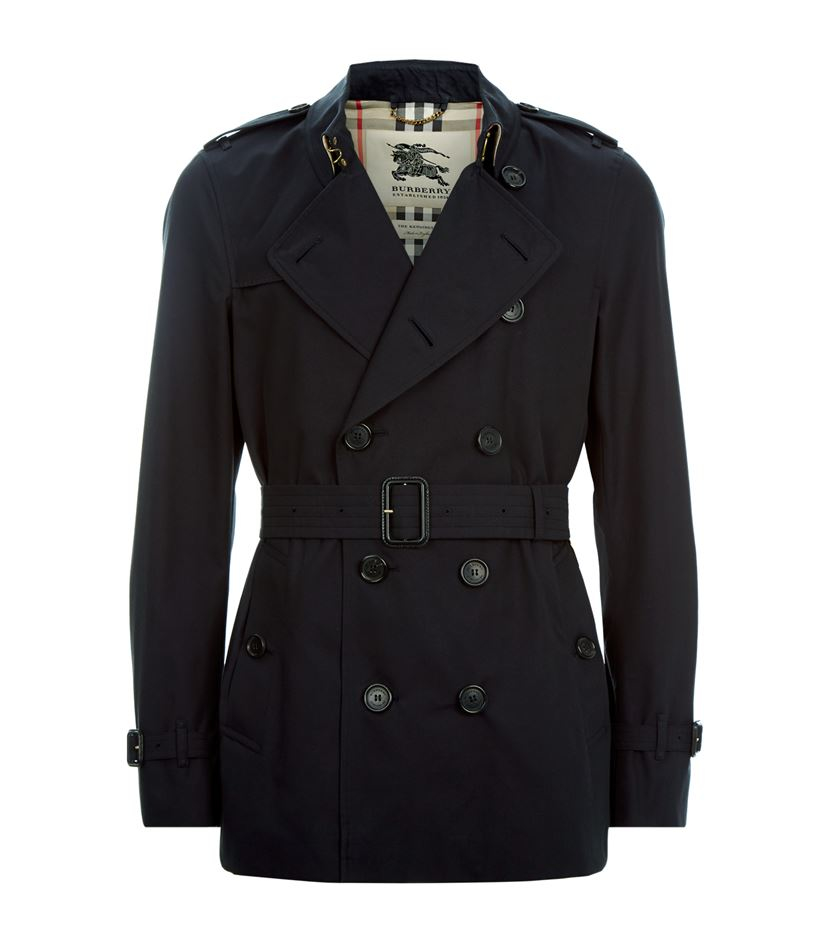 Burberry The Kensington Short Heritage Trench Coat In Blue