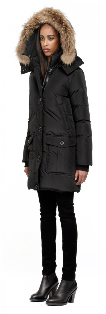 Mackage Chaska-f4 Long Black Down Parka Coat With Fur Hood in ...