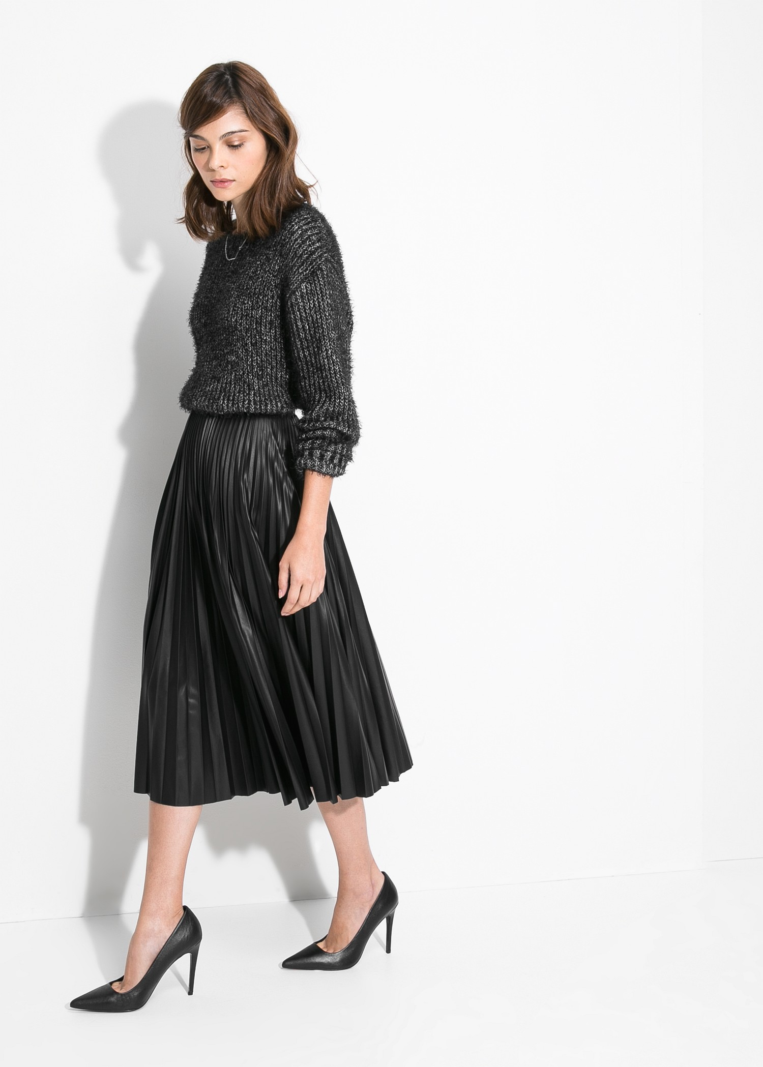 Mango Pleated Midi Skirt in Black | Lyst