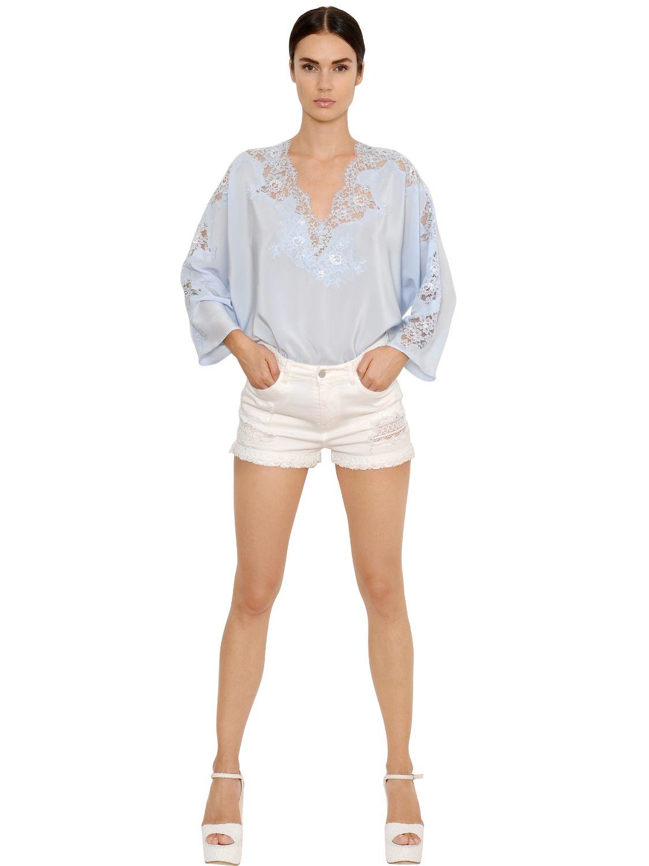 Ermanno Scervino Silk Crepe De Chine   Lace Top in Blue - Lyst f92f00f17b3