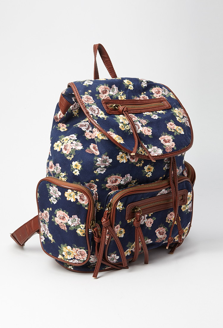 Forever 21 Floral Canvas Backpack | Lyst