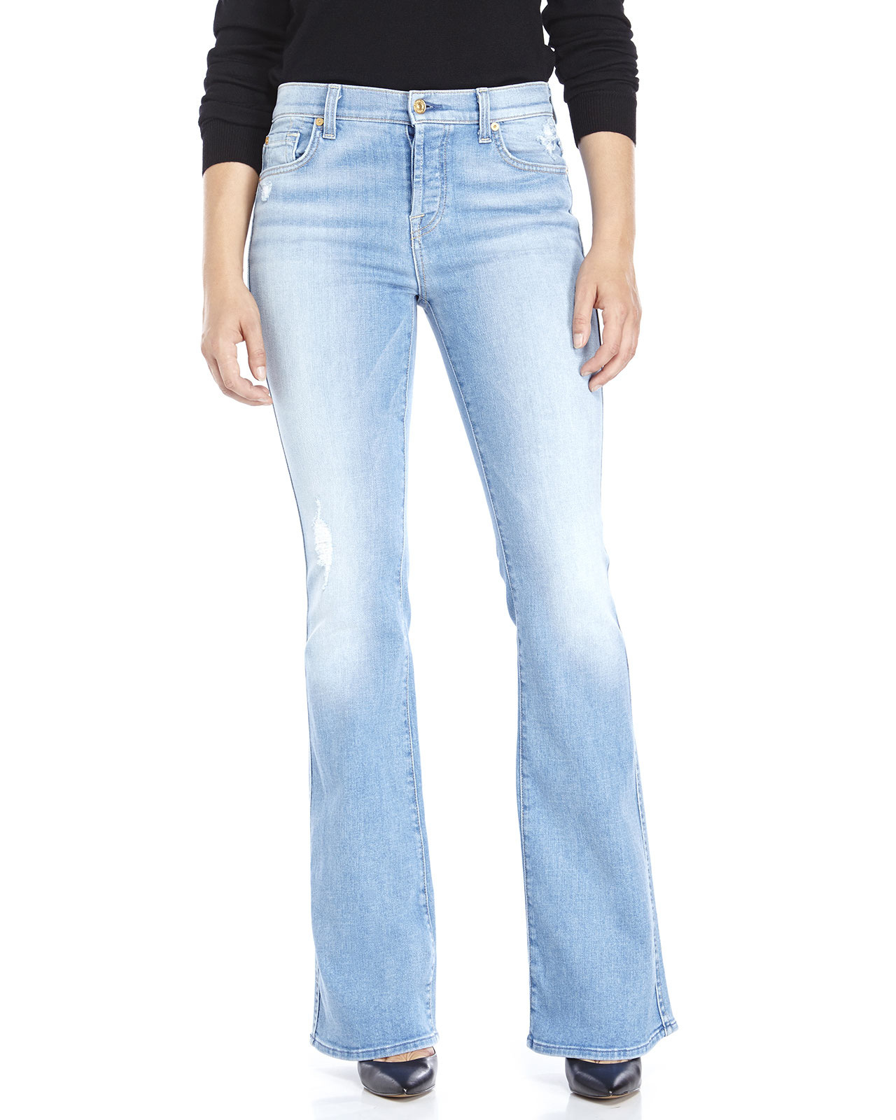 7 for all mankind High Waist Vintage Bootcut Jeans in Blue | Lyst