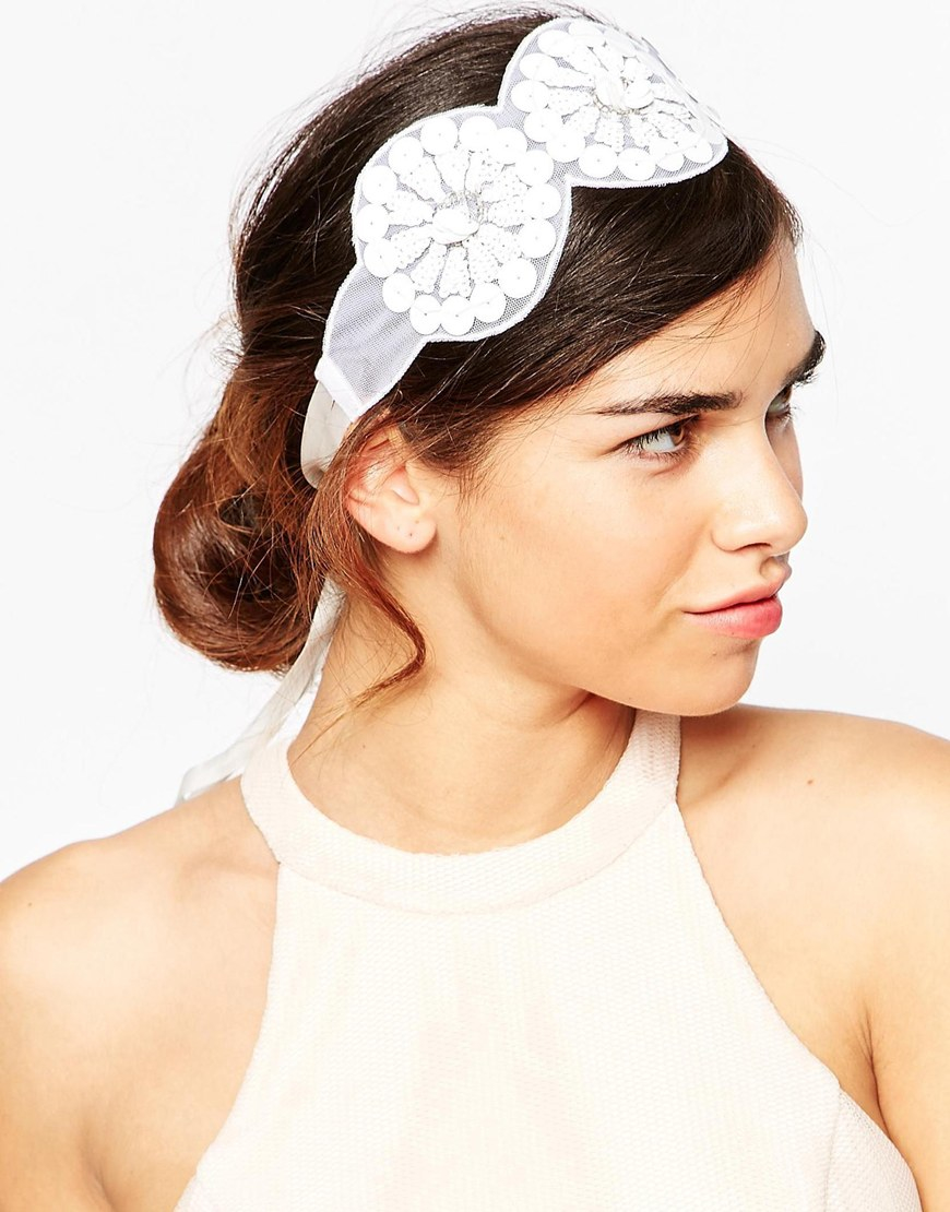 Lyst Asos Big Sequin Flower Headband White In White