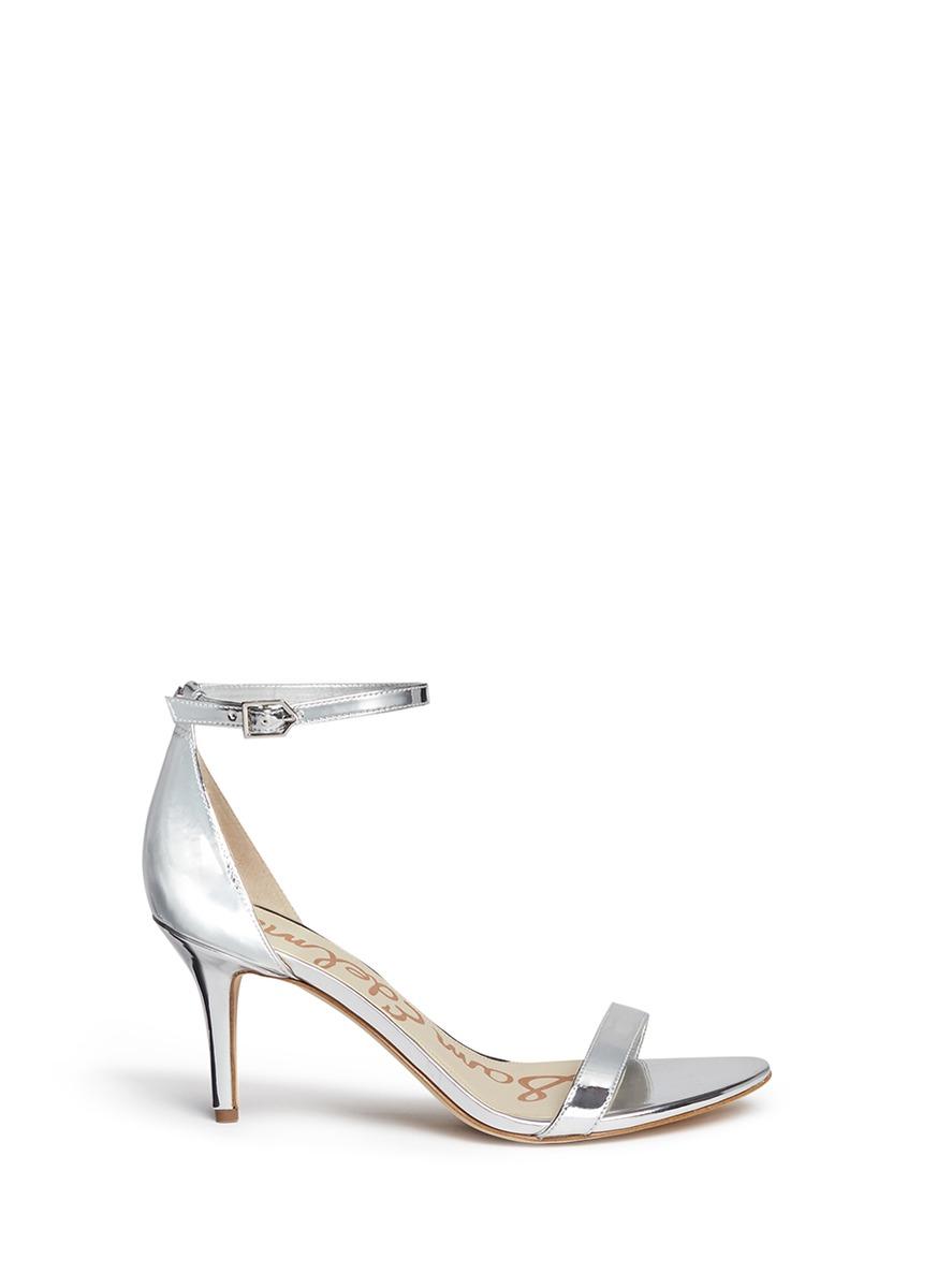 4b485b3168cf Sam Edelman  patti  Ankle Strap Mirror Sandals in Metallic - Lyst