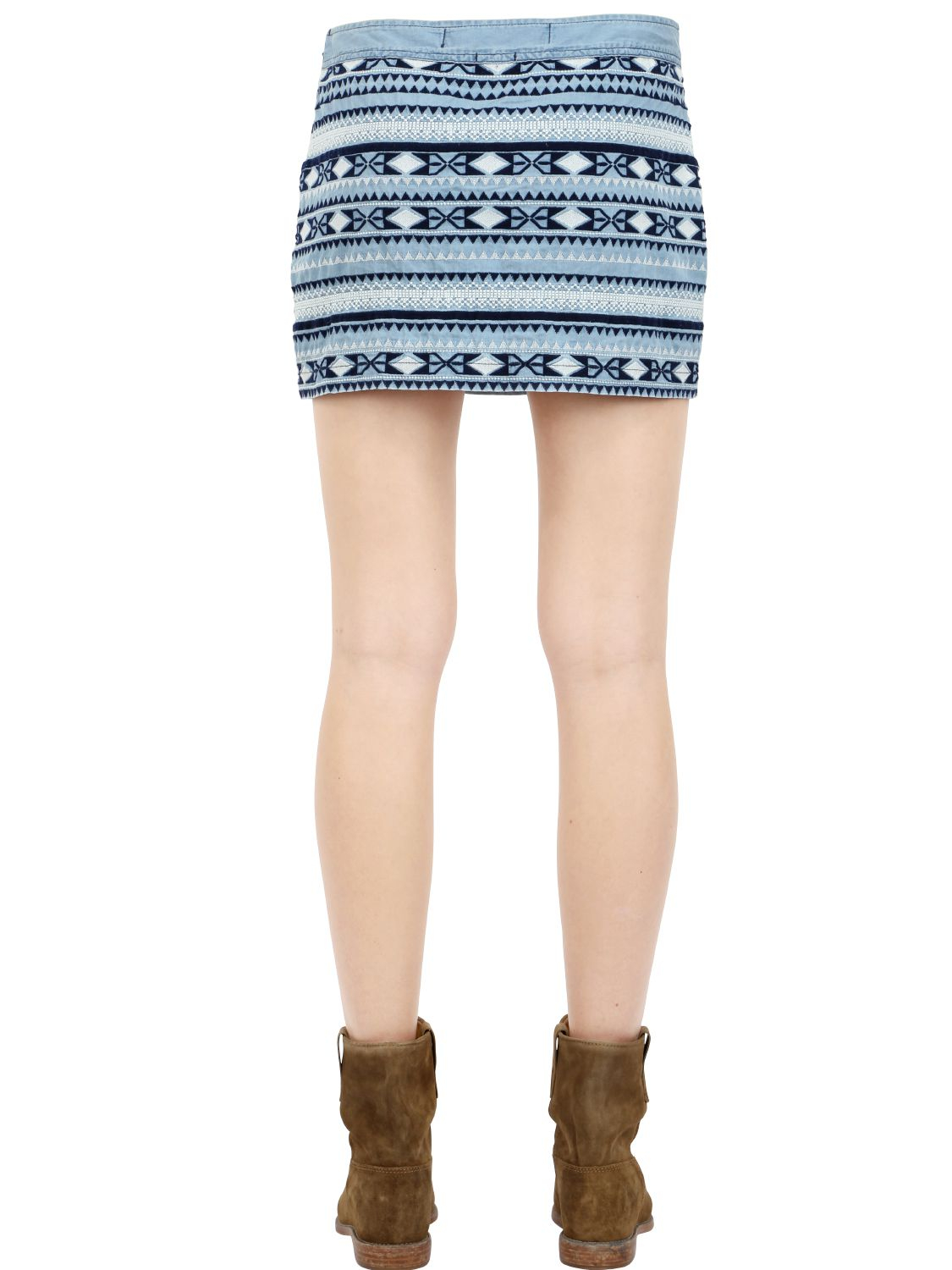 superdry embroidered cotton denim skirt in blue lyst