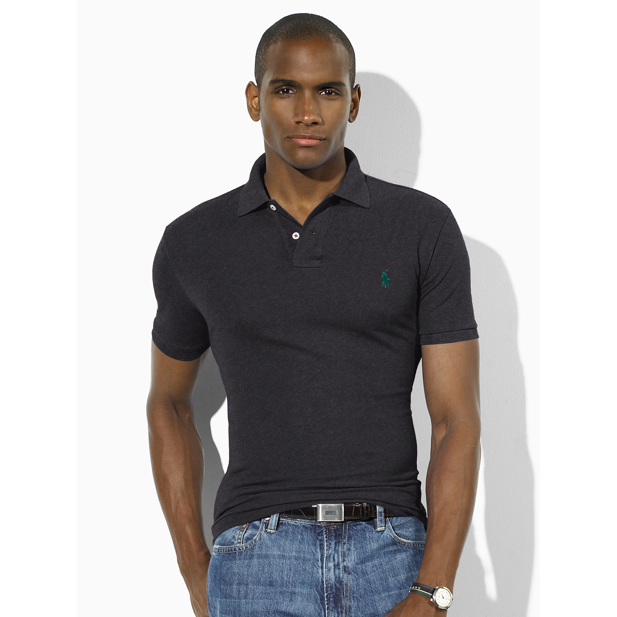 Lyst polo ralph lauren slim fit mesh polo shirt in black for Slim fit collared shirts