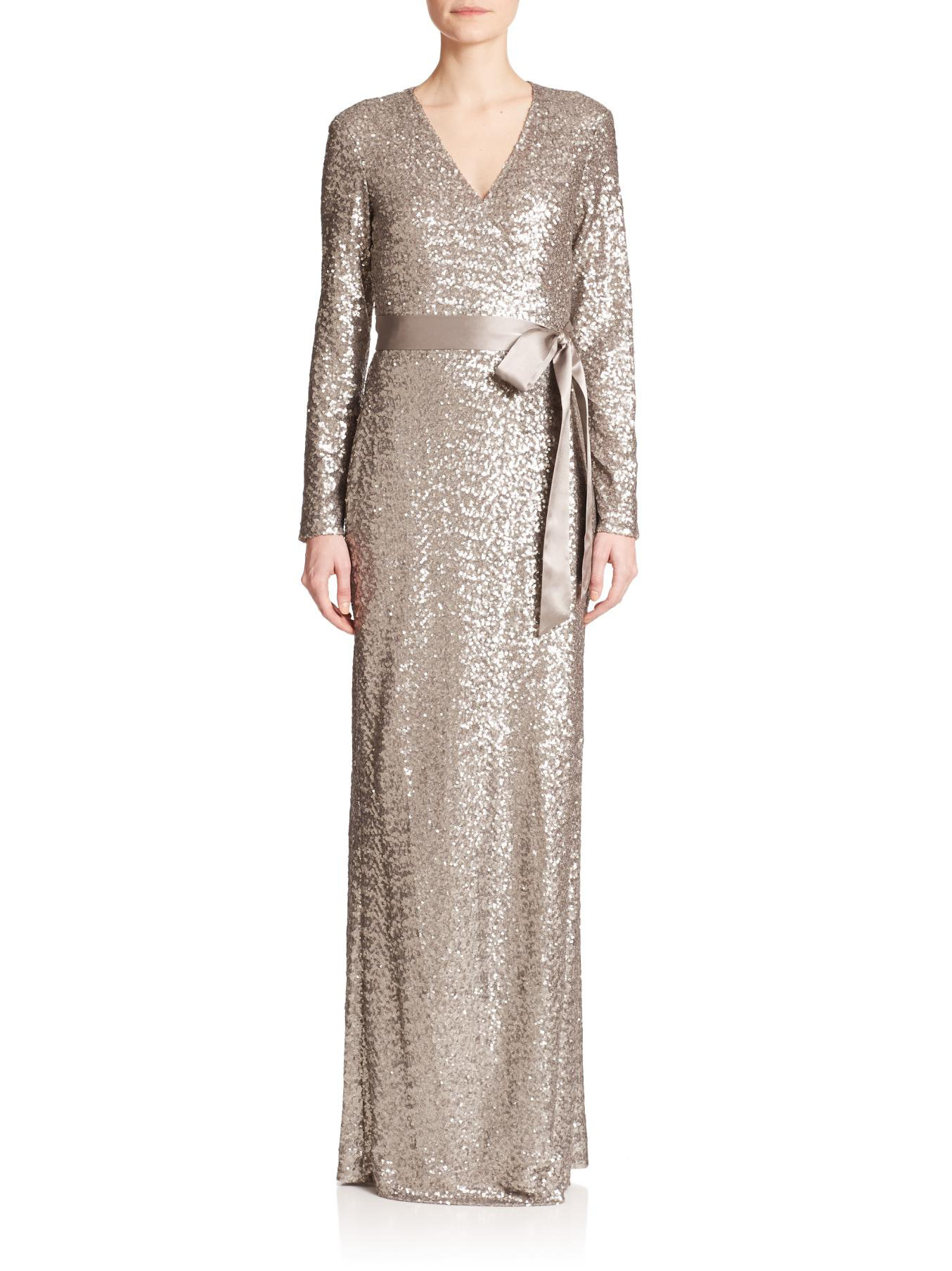 Lyst - Diane Von Furstenberg Ariel Sequined Silk Wrap Gown in Metallic