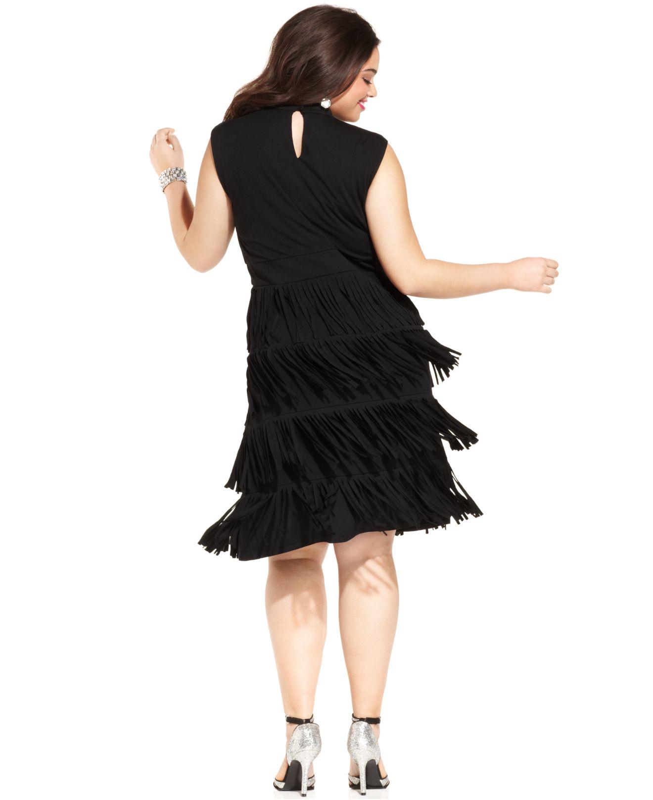 Spense Plus Size Tiered Fringe Dress in Black | Lyst