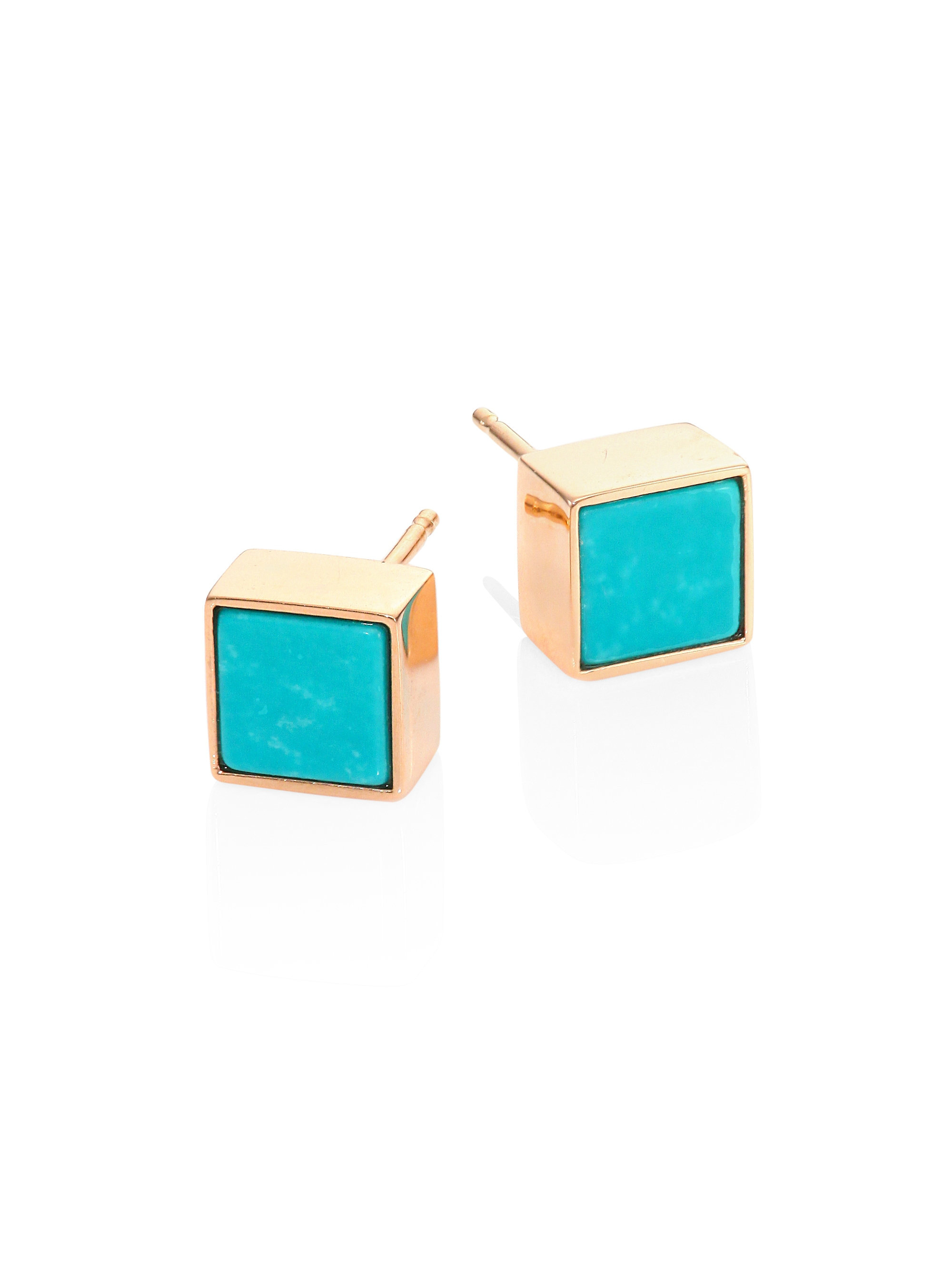 b6903c1aa Lyst - Ginette NY Ever Turquoise & 14k Rose Gold Studs
