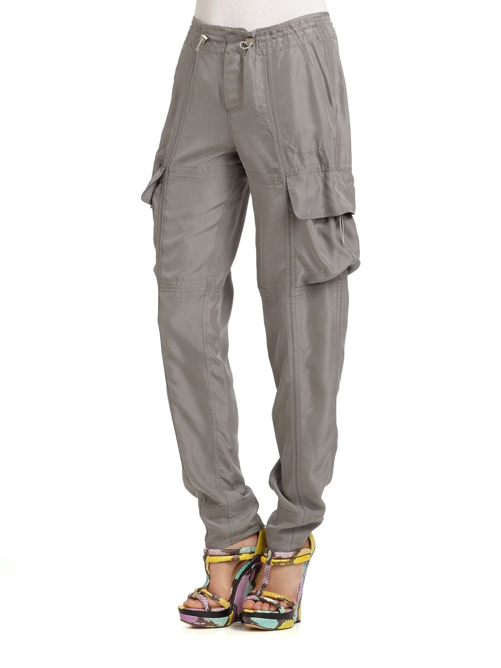 Kaufman franco Washed Silk Cargo Pants in Gray | Lyst