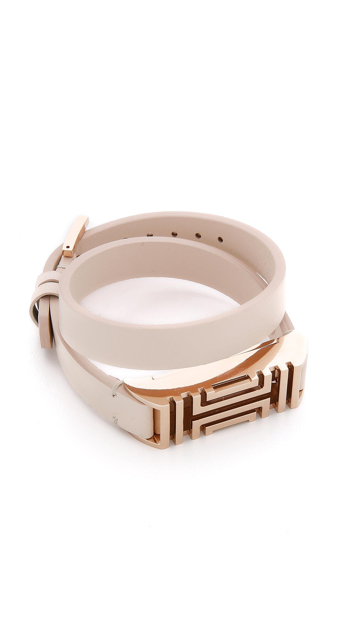 e9ee298bd92 Lyst - Tory Burch For Fitbit Fret Double Wrap Bracelet - Light Oak ...