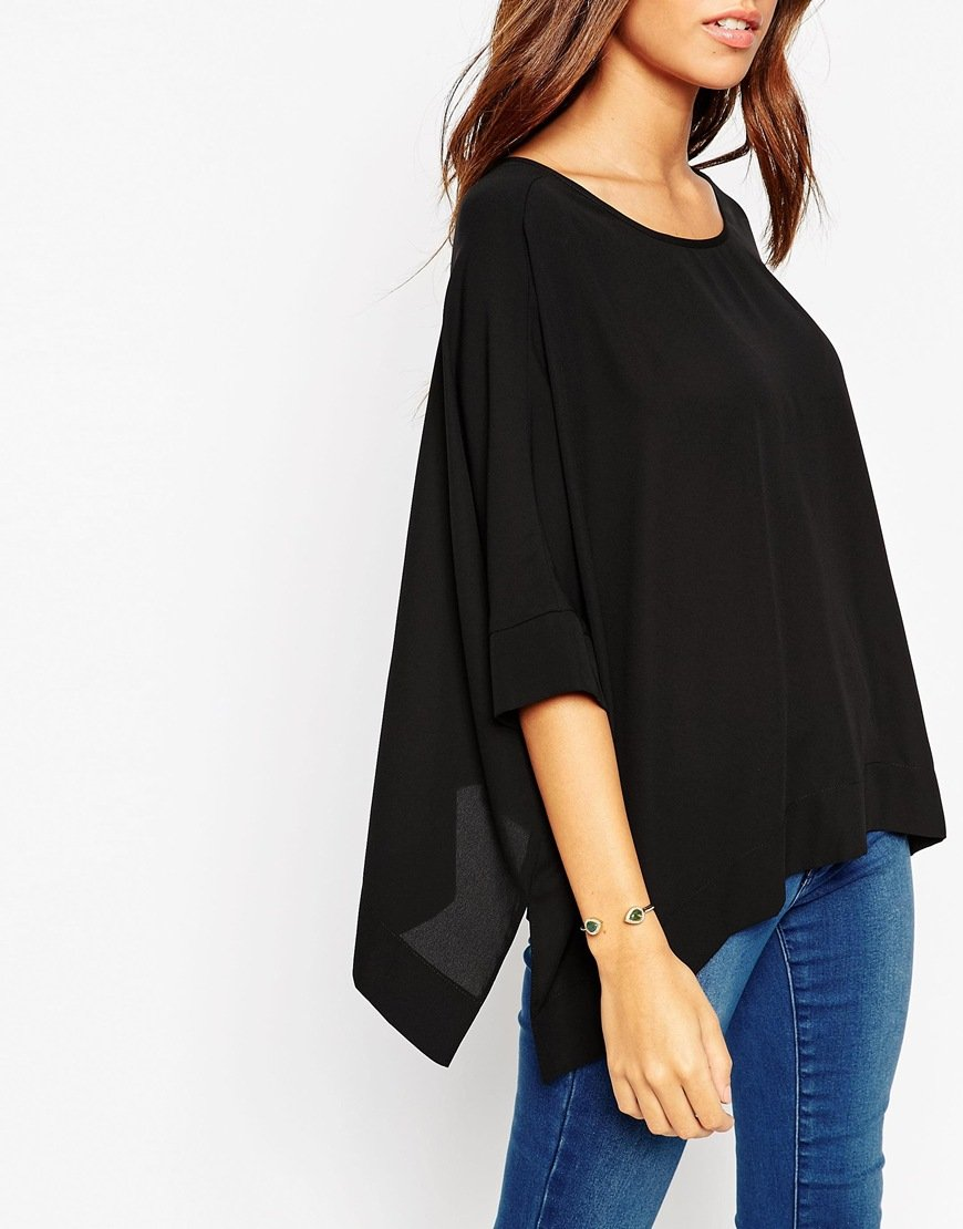 a5e966b7 ASOS Tall Oversized Kimono T-shirt With V Back in Black - Lyst