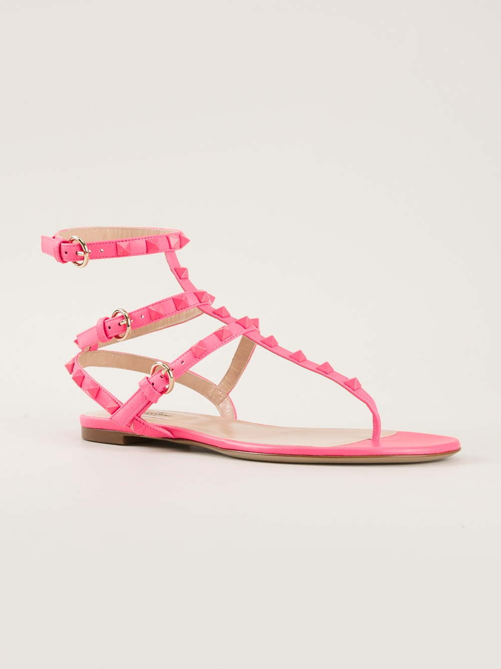 Valentino Rockstud Sandal In Pink Pink Amp Purple Lyst