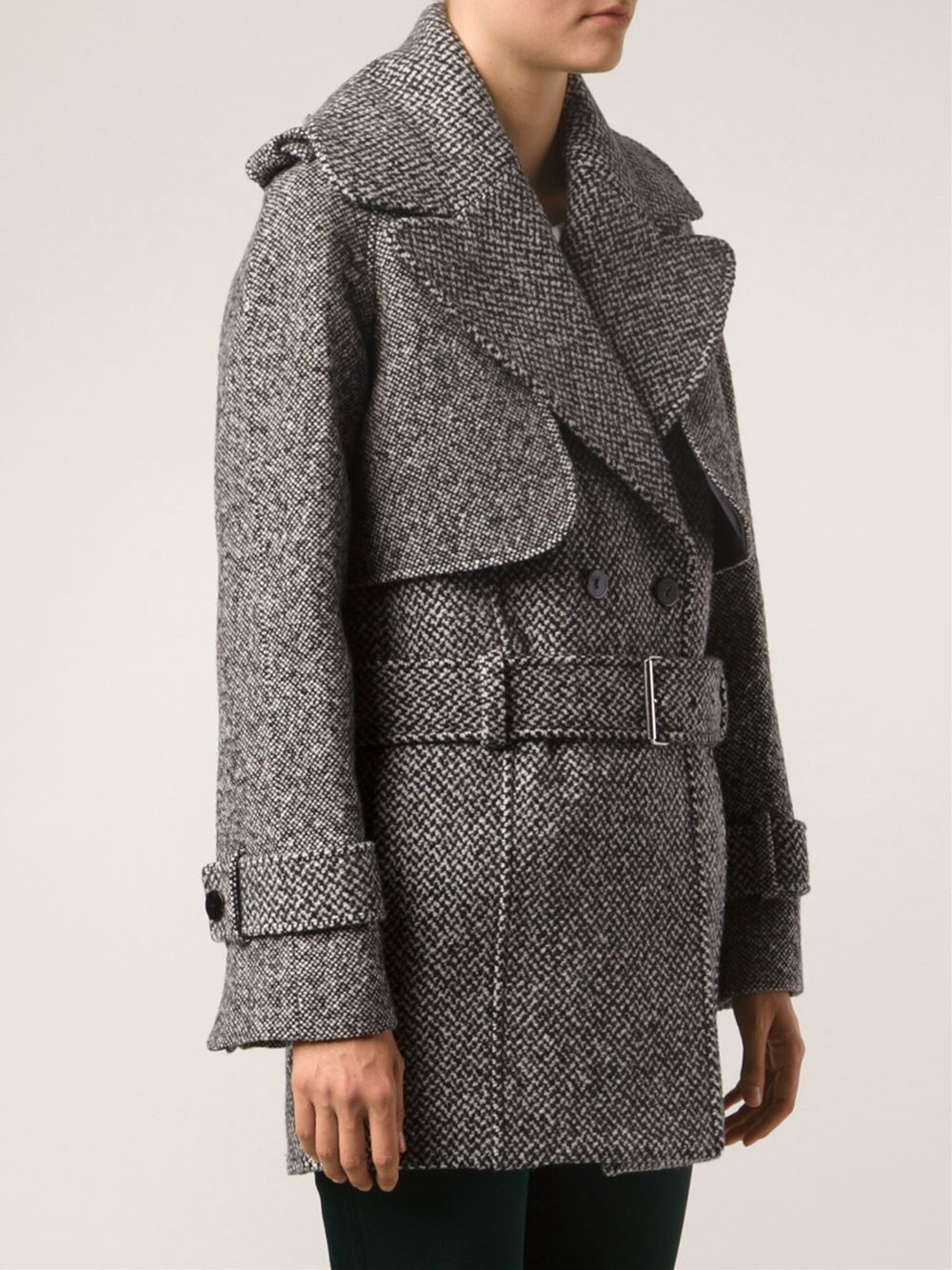 Carven Double Breasted Tweed Coat in Black   Lyst