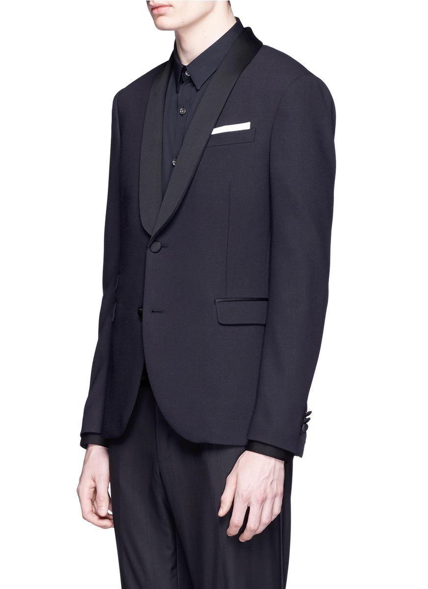 Neil barrett satin lapel tuxedo blazer in blue for men lyst for Neil barrett tuxedo shirt