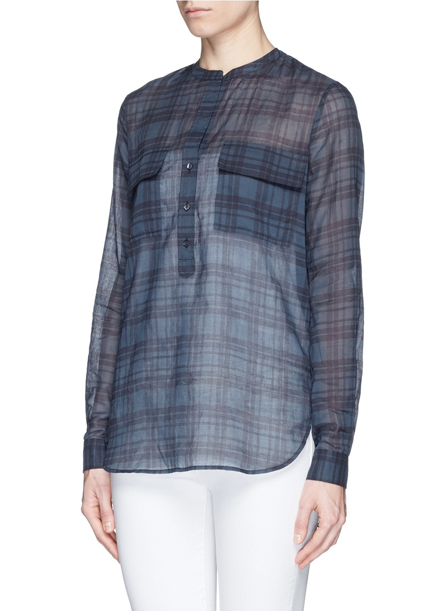 lyst vince plaid cotton tunic in blue. Black Bedroom Furniture Sets. Home Design Ideas