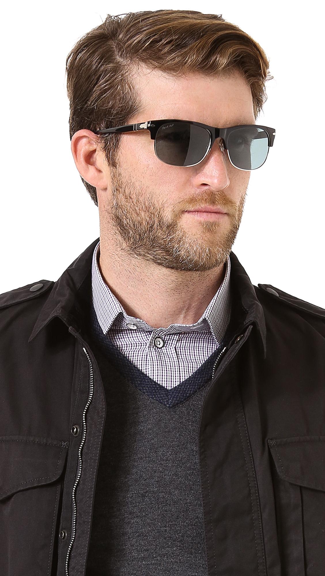 0f2b12eafb7ca Persol Clubmaster Polarized Sunglasses in Black for Men - Lyst