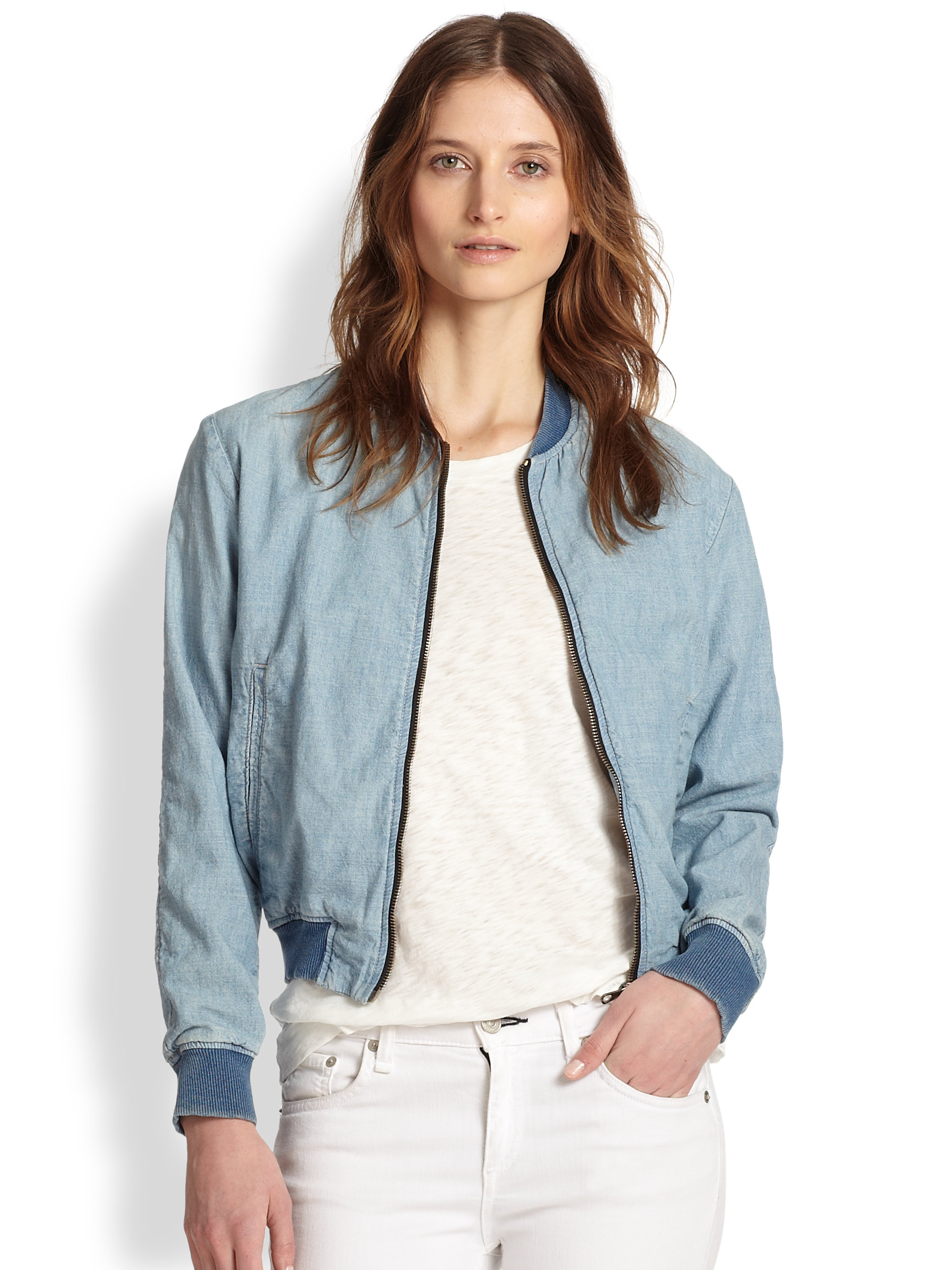 Rag & bone Denim Bomber Jacket in Blue | Lyst