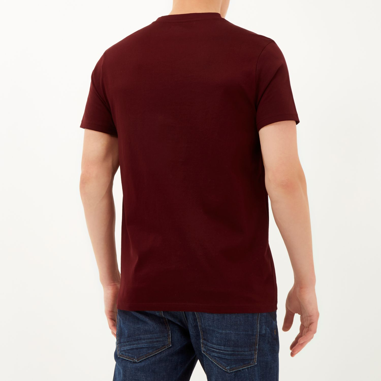280e4d03505f River Island Dark Red Premium V-neck T-shirt in Red for Men - Lyst