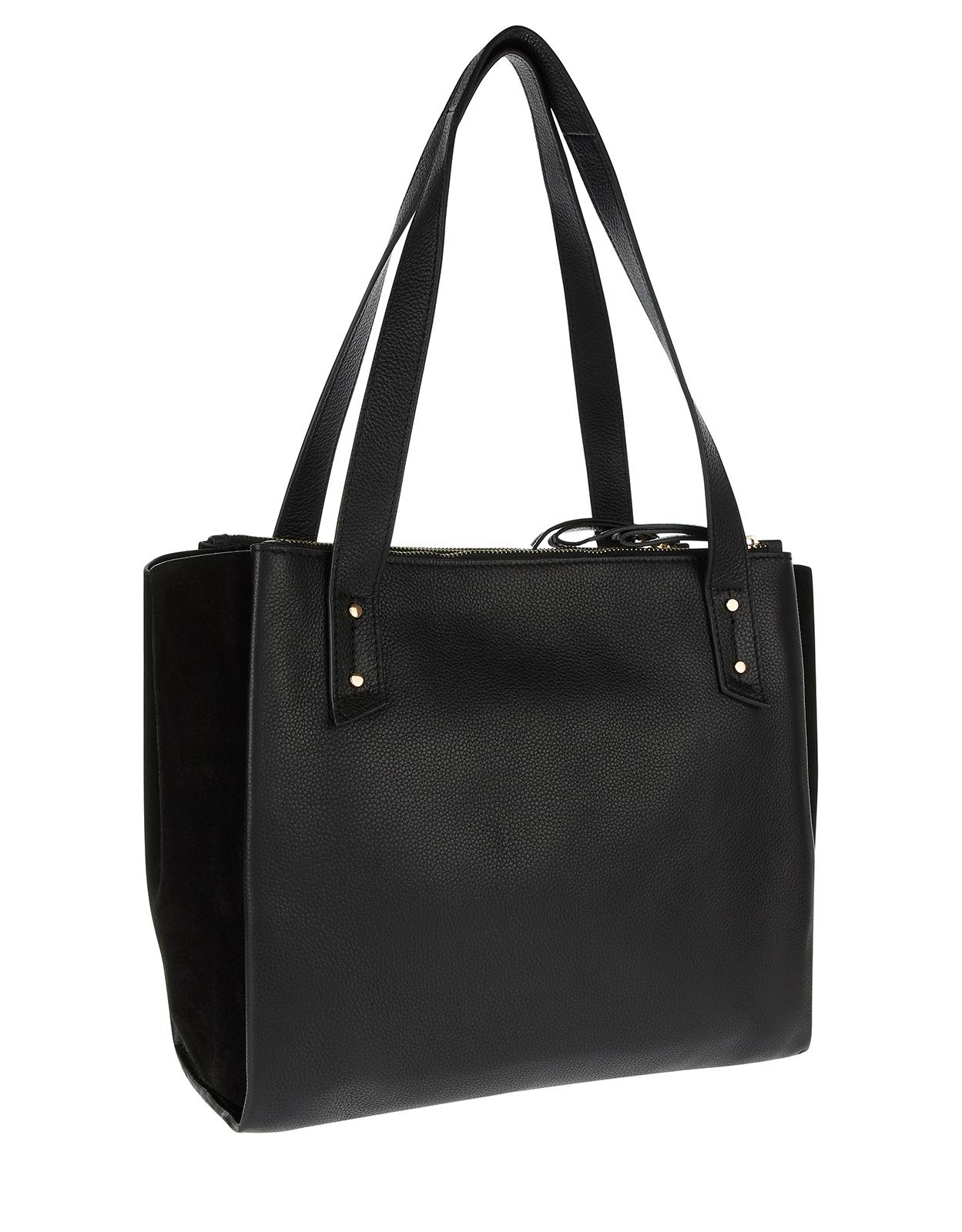 502ba1f33a Accessorize Drew Double Zip Leather Work Bag in Black - Lyst