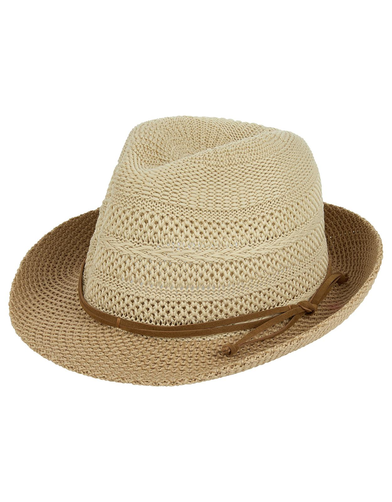 01f3ac90 Accessorize Rancher Packable Trilby Hat in Natural - Lyst