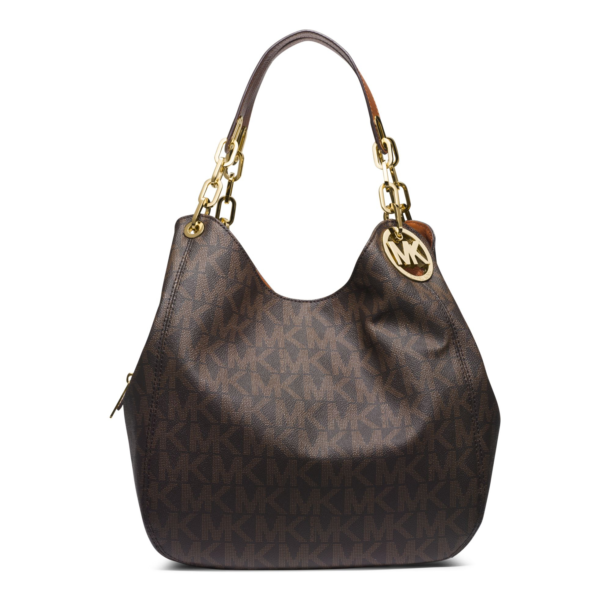 Michael kors Fulton Large Logo Shoulder Bag in Brown | Lyst
