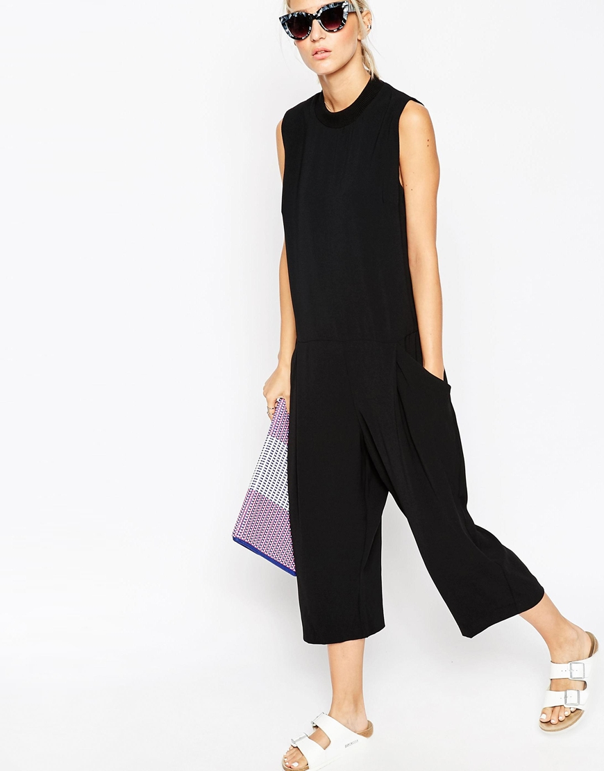 622c15c1905 Lyst - ASOS Relaxed Cropped Jumpsuit in Black