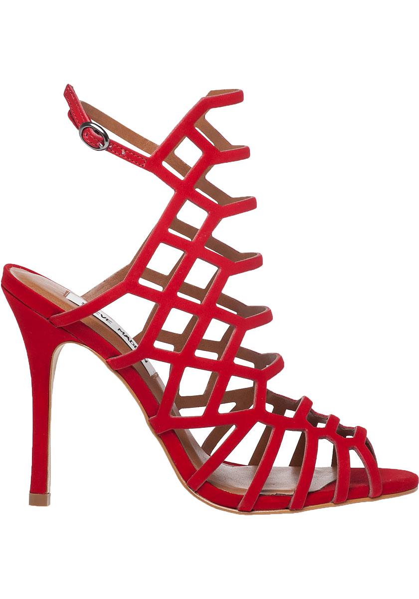 ec56ebc9bbb349 Lyst - Steve Madden Slithur Suede Sandals in Red