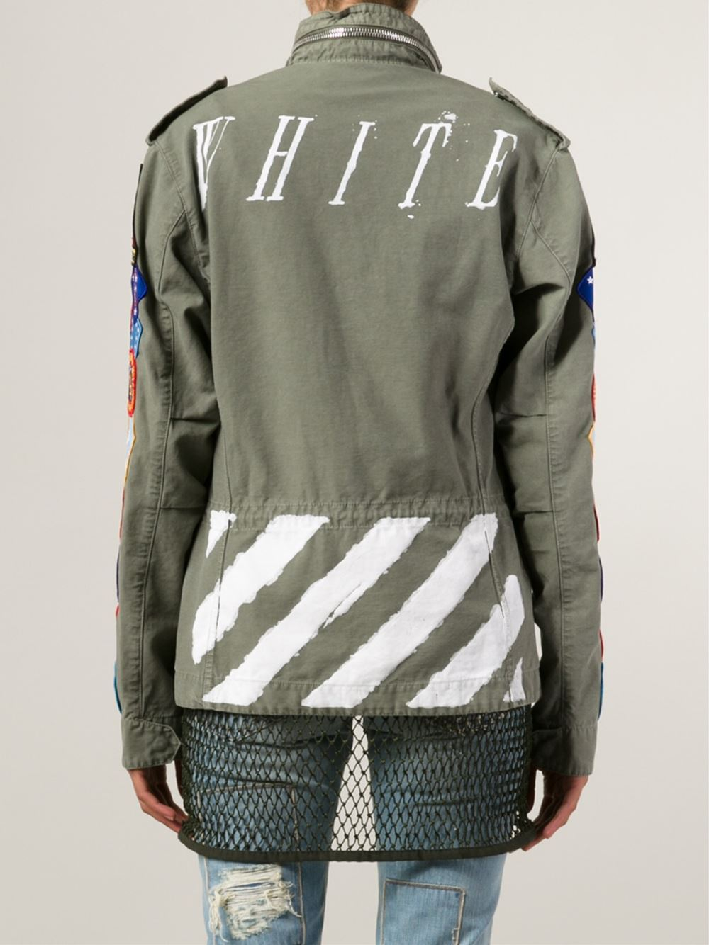 Off-white C/o Virgil Abloh Patch Military Jacket In Green | Lyst