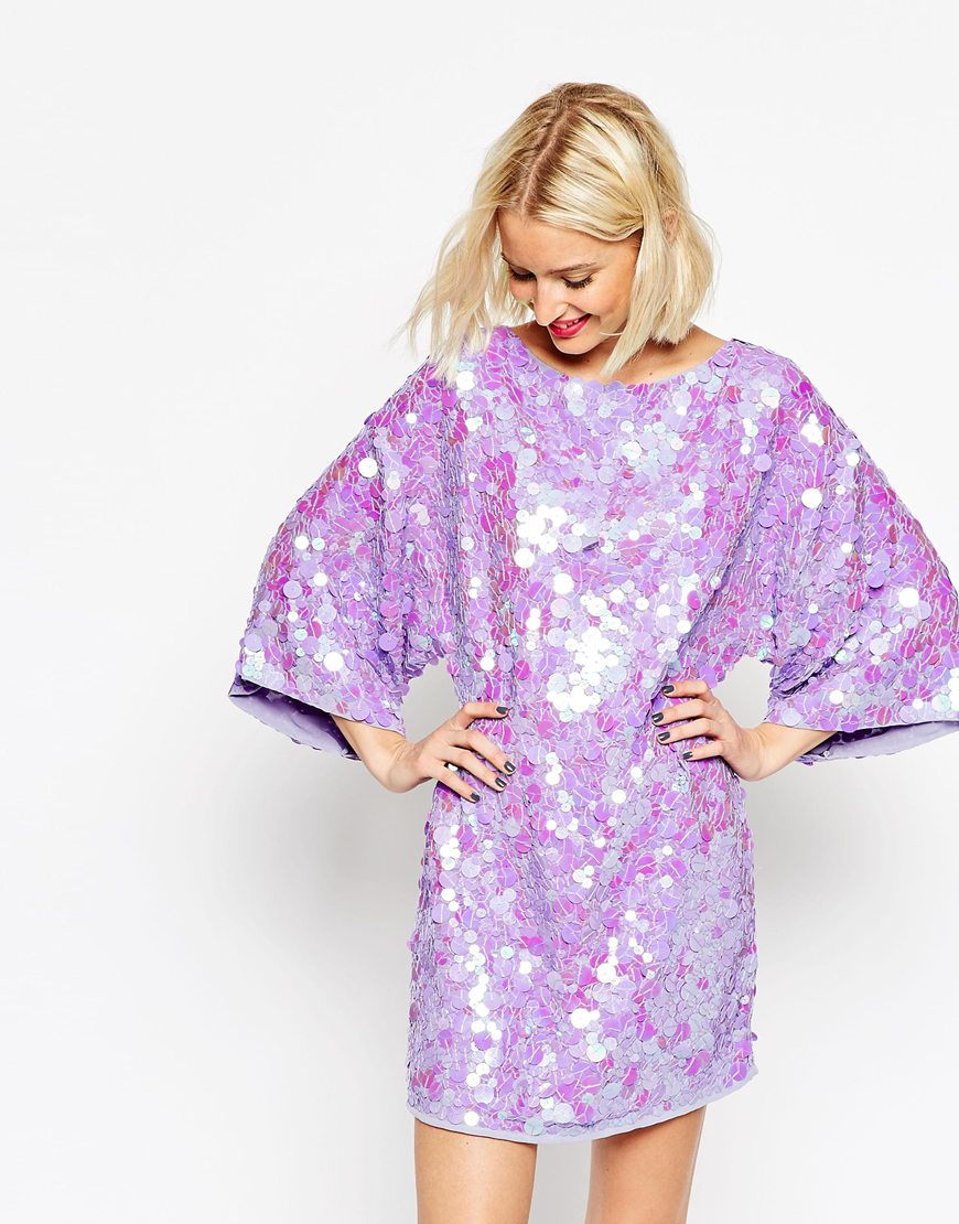 Lyst - Asos Sequin Kimono Mini Dress in Purple
