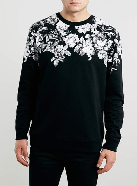 Lac Bk Floral Printed Neck Sweatshirt In Black For Men Lyst