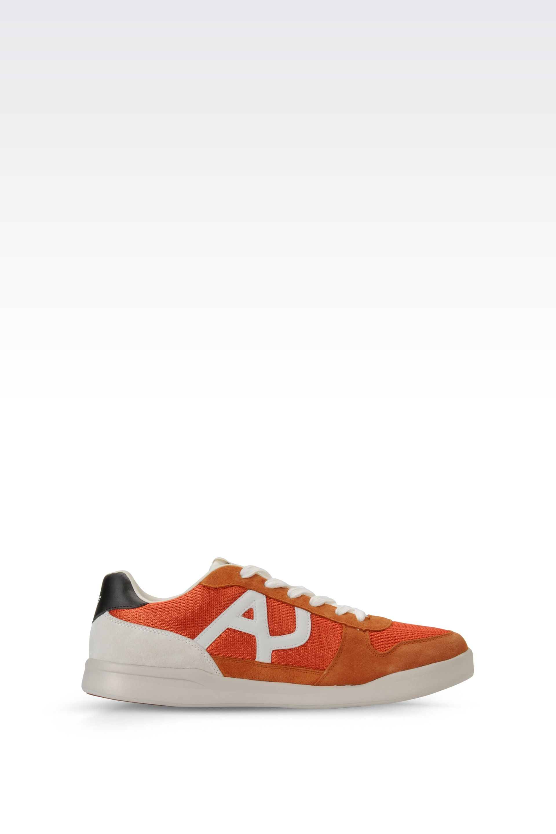 armani jeans sneaker in suede and mesh with logo in orange. Black Bedroom Furniture Sets. Home Design Ideas