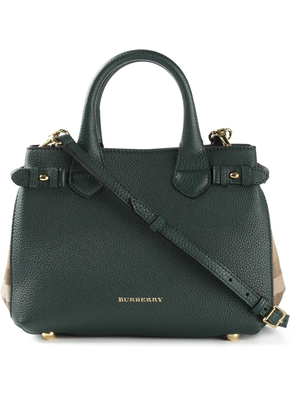 4b3fd5825cad Lyst - Burberry Banner Small Calf-Leather Tote in Green